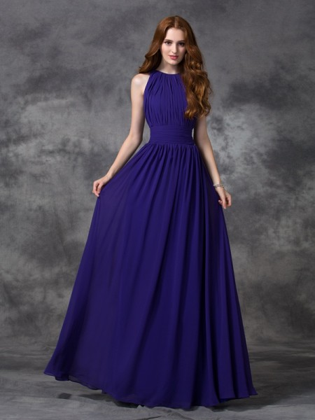 A-line/Princess Jewel Ruched Bridesmaid Dress with Long Chiffon