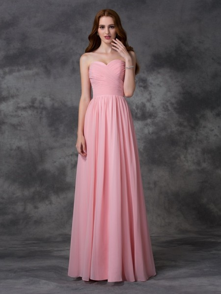 A-line/Princess Sweetheart Ruffles Bridesmaid Dress with Long Chiffon