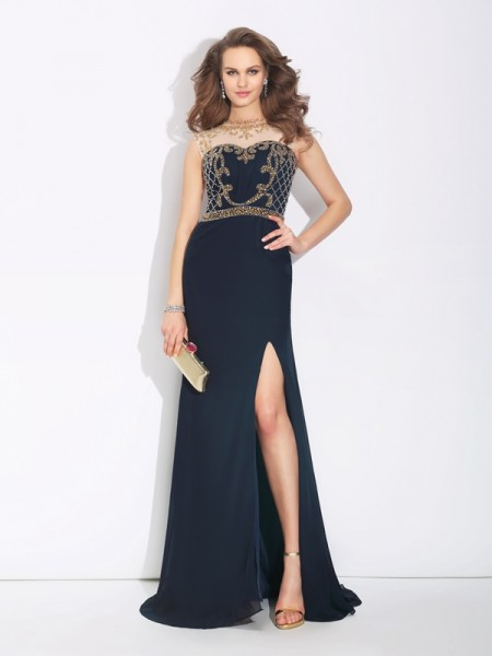A-Line/Princess Jewel Beading Dress with Long Chiffon