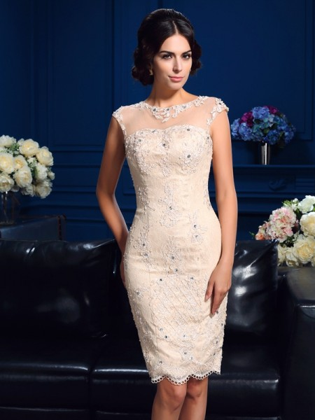 Sheath/Column Sheer Neck Lace Short Lace Mother of the Bride Dress