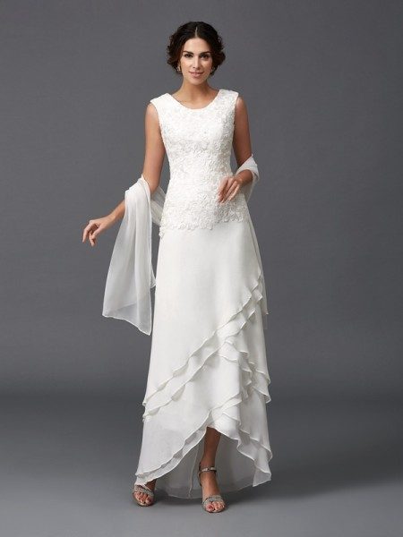 A-Line/Princess Scoop Lace Sleeveless Asymmetrical Chiffon Mother of the Bride Dresses