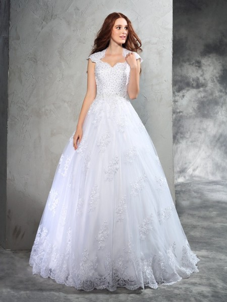 Ball Gown Sweetheart Lace Long Organza Wedding Dress