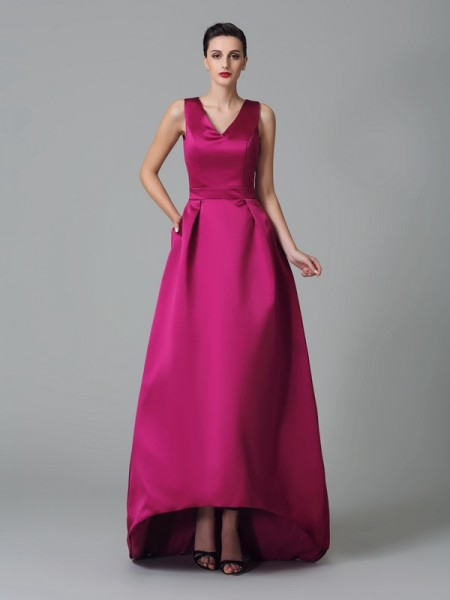 A-Line/Princess Straps Ruched High Low Satin Bridesmaid Dress