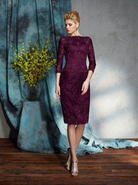 Sheath/Column Bateau Lace 3/4 Sleeves Short Lace Mother of the Bride Dress