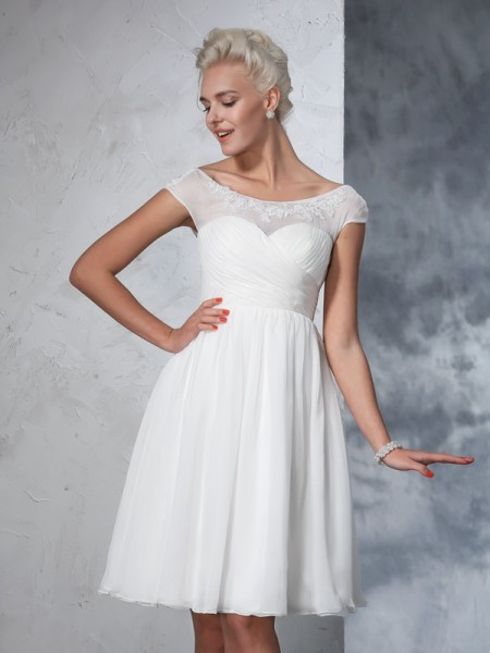 A-Line/Princess Sheer Neck Ruched Short Sleeves Short Chiffon Wedding Dress