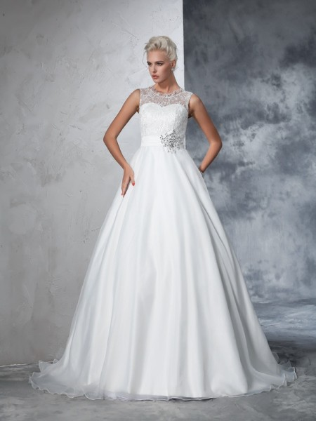 Ball Gown Sheer Neck Lace Long Net Wedding Dress