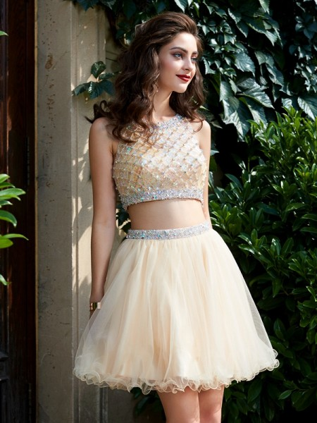 A-Line/Princess Scoop Net Short/Mini Two Piece Homecoming Dress