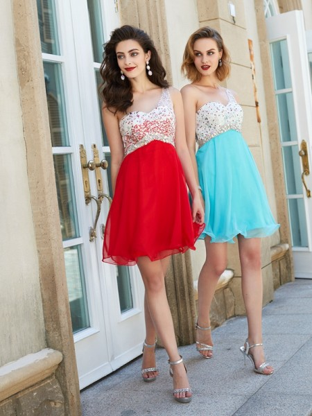 A-line/Princess Chiffon One-Shoulder Short/Mini Dress
