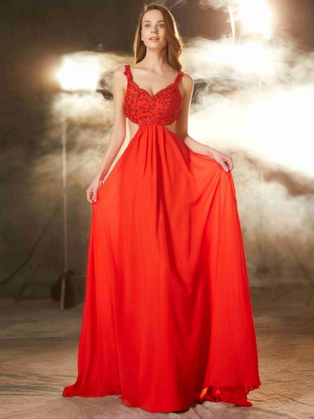 A-Line/Princess Straps Sleeveless Sweep/Brush Train Applique Chiffon Dresses