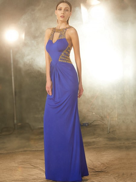 Sheath/Column Scoop Floor-Length Spandex Dress