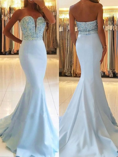 Trumpet/Mermaid Sleeveless Sweep/Brush Train Sweetheart Beading Satin Dresses