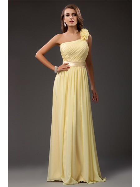 Sheath/Column One Shoulder Ruffles Chiffon Dress
