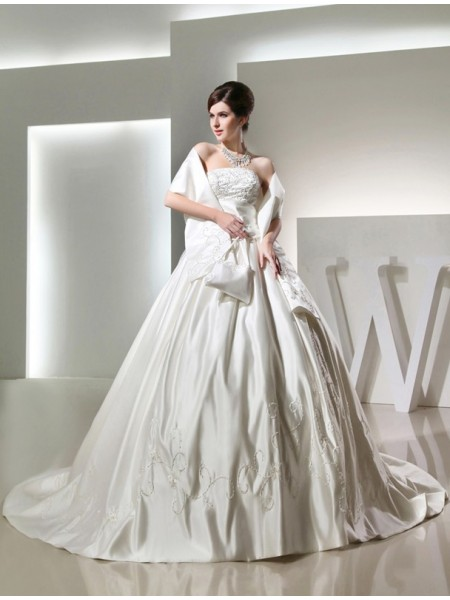 Ball Gown Long Strapless Satin Wedding Dress