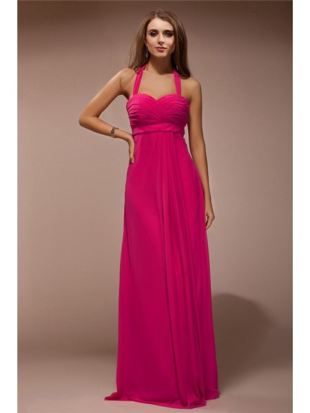 Sheath/Column Halter Ruffles Chiffon Bridesmaid Dress
