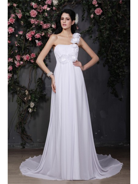 A-Line/Princess One-Shoulder Ruffles Chiffon Wedding Dress