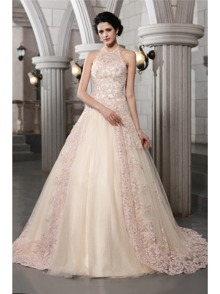 A-Line/Princess High Neck Applique Long Net Wedding Dress