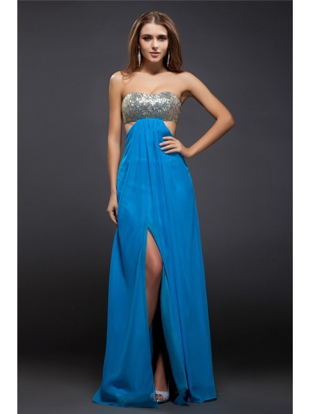 Sheath/Column Strapless Sequin Lace Chiffon Dress