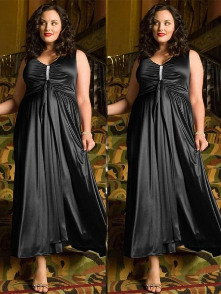 A-Line/Princess V-neck Beading Ankle-Length Elastic Woven Satin Plus Size Dress