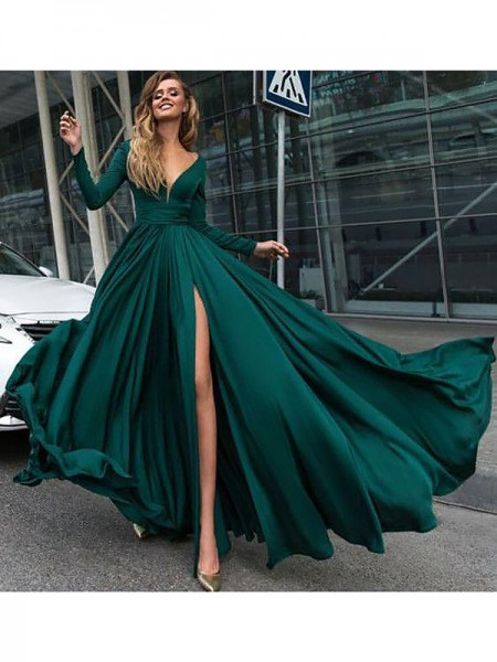 A-Line/Princess V-Neck Long Sleeves Floor-Length Ruffles Satin Dresses
