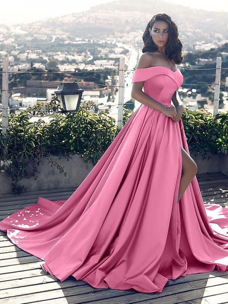 A-Line/Princess Sleeveless Off-the-Shoulder Ruffles Satin Court Train Dresses