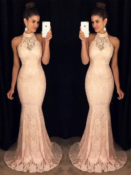 Trumpet/Mermaid High Neck Sweep/Brush Train Ruffles Dress with Lace