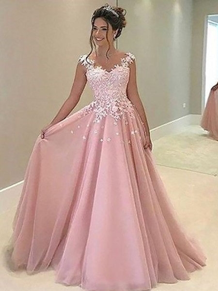 A-Line/Princess Sweetheart Floor-Length Applique Tulle Dress