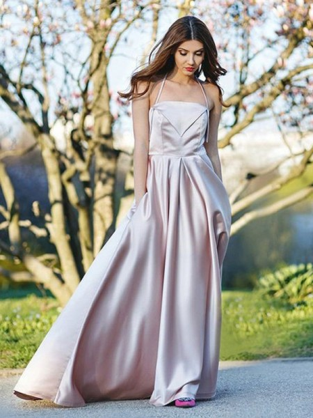 A-Line/Princess Halter Sleeveless Sweep/Brush Train Satin Dress
