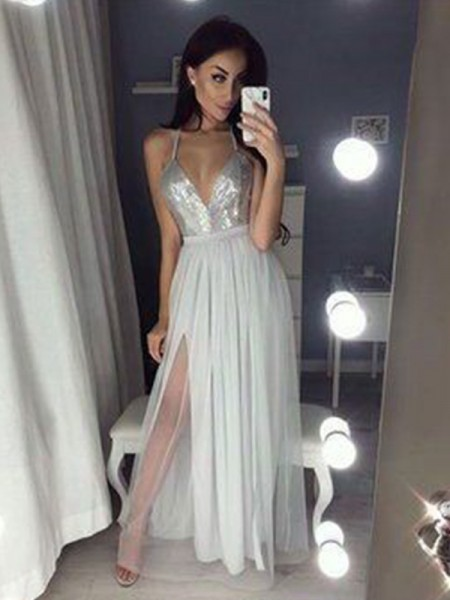 A-Line/Princess Straps V-neck Sleeveless Chiffon Beading Floor-Length Dress