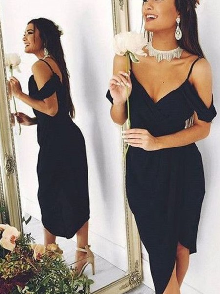Sheath/Column Spaghetti Straps Short Sleeves Spandex Asymmetrical Dresses