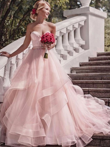 Ball Gown Sleeveless Court Train Layers Organza Wedding Dress