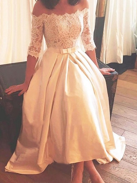 A-Line/Princess Asymmetrical 1/2 Sleeves Lace Satin Wedding Dress