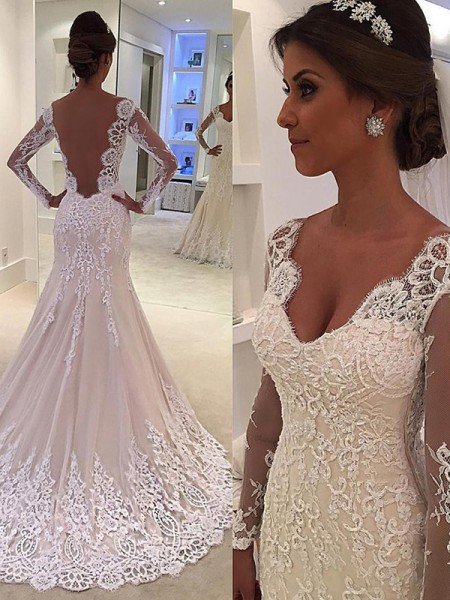 Trumpet/Mermaid Long Sleeves V-neck Court Train Lace Wedding Dress