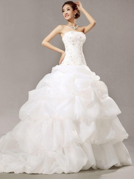Ball Gown Sleeveless Strapless Cathedral Train Beading Lace Pleats Organza Wedding Dress