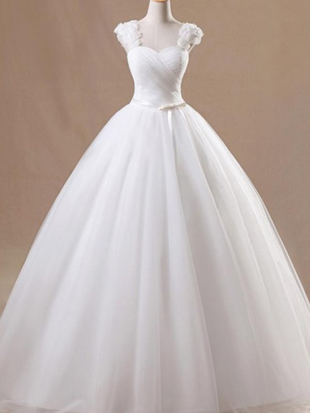 Ball Gown Sleeveless Square Floor-Length Ruffles Tulle Wedding Dress