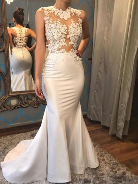 Trumpet/Mermaid Sleeveless Scoop Court Train Applique Satin Wedding Dress