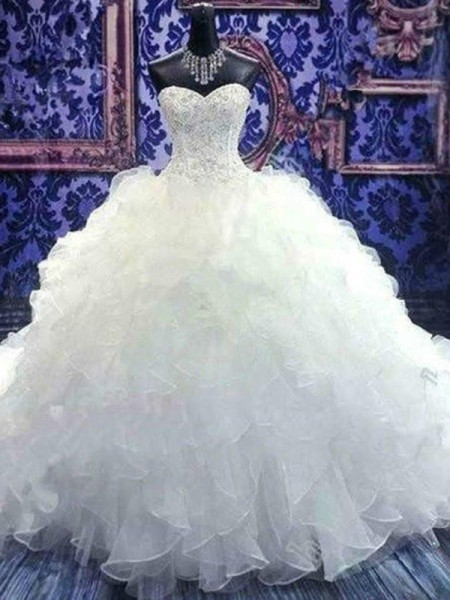 Ball Gown Sleeveless Chapel Train Beading Sequin Organza Wedding Dress