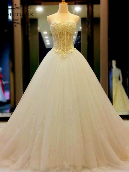 Ball Gown Sweetheart Tulle Beading Court Train Sleeveless Wedding Dress