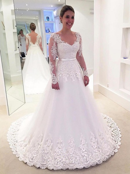 A-Line/Princess V-neck Lace Long Sleeves Tulle Sweep/Brush Train Wedding Dress