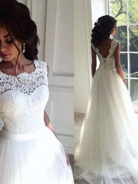 A-Line/Princess Lace Tulle Bateau Sleeveless Sweep/Brush Train Wedding Dress