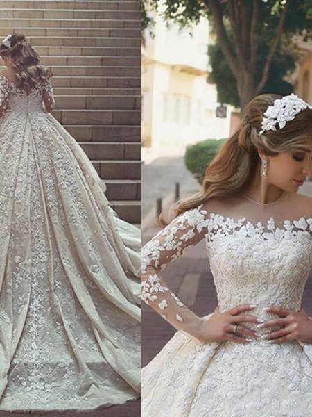 Ball Gown Satin Scoop Long Sleeves Chapel Train Wedding Dress