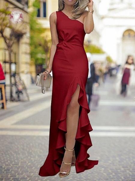 Sheath/Column One-Shoulder Sweep/Brush Train Ruffles Satin Dresses