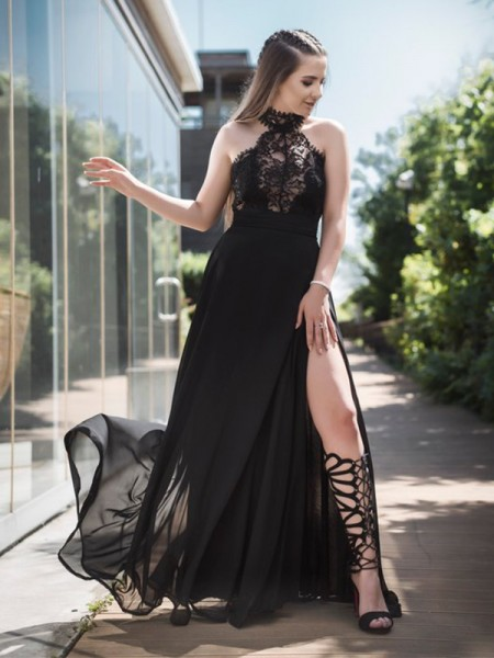 A-Line/Princess Sleeveless Floor-Length Lace Tulle Dresses