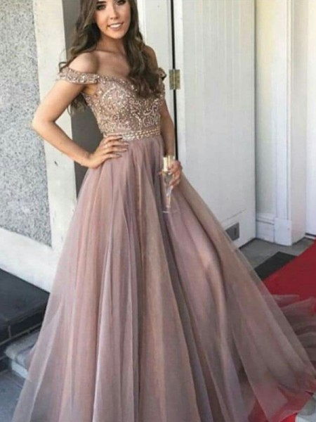 A-Line/Princess Sleeveless Off-the-Shoulder Floor-Length Tulle Dresses