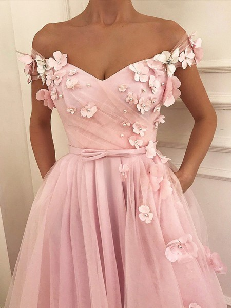 A-Line/Princess Sleeveless Floor-Length Off-the-Shoulder Applique Tulle Dresses