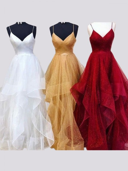A-Line/Princess Sleeveless Spaghetti Straps Floor-Length Organza Dresses