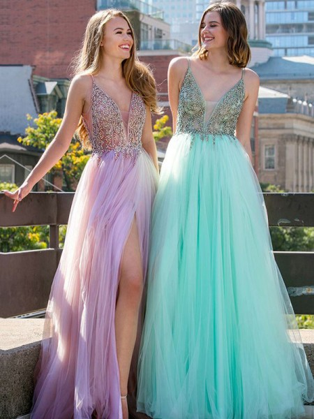 A-Line/Princess Sleeveless V-neck Floor-Length Beading Tulle Dresses