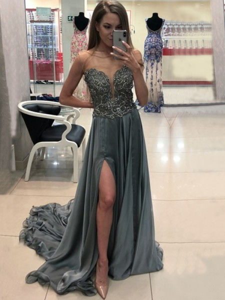 A-Line/Princess Sleeveless Sweep/Brush Train Bateau Crystal Chiffon Dresses