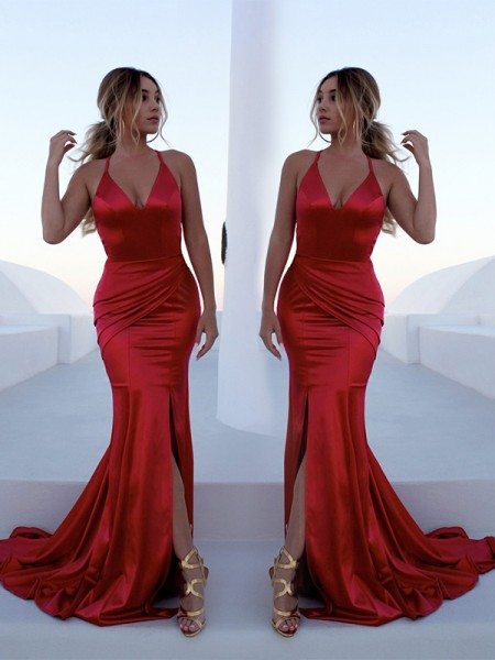 Trumpet/Mermaid Sleeveless Ruffles Sweep/Brush Train Elastic Woven Satin Dresses