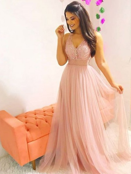 A-Line/Princess Sleeveless Sweep/Brush Train V-neck Crystal Tulle Dresses