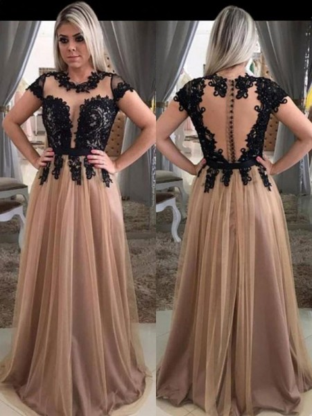 A-Line/Princess Short Sleeves Applique Scoop Tulle Sweep/Brush Train Dresses
